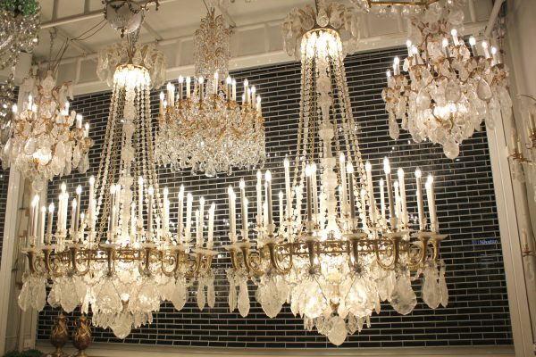 Monumental Pair of Hand-Carved Rock Crystal, Bronze and Ormolu Chandeliers